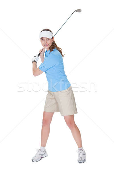 Zdjęcia stock: Golfa · golf · klub · atrakcyjna · kobieta · odzież · odizolowany