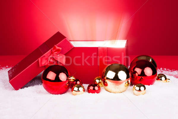 Opened Gift Box With Baubles Stock photo © AndreyPopov