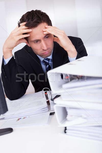 退屈 ビジネスマン 書類 オフィス 小さな ストックフォト © AndreyPopov