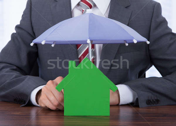 Businessman Sheltering House With Umbrella Stock photo © AndreyPopov