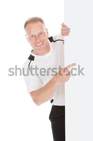 Uomo cartellone bianco ritratto adulto Foto d'archivio © AndreyPopov