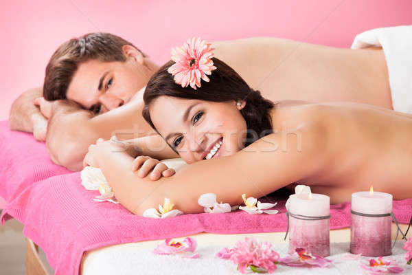 Happy Couple Relaxing In Beauty Spa Stock photo © AndreyPopov