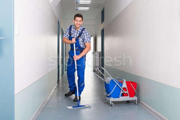 счастливым мужчины работник метлой очистки служба Сток-фото © AndreyPopov