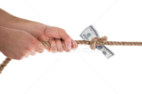 Person Pulling Banknote Tied In A Rope Stock photo © AndreyPopov