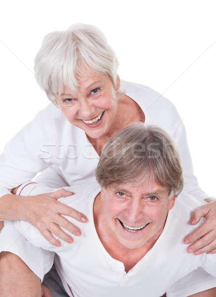 Idős férfi elvesz háton nő boldog Stock fotó © AndreyPopov