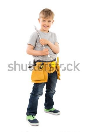 Fiú tart csavarkulcs portré fotó mosolyog Stock fotó © AndreyPopov