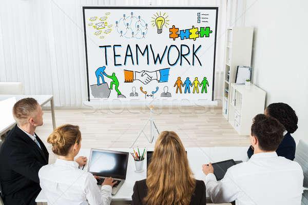 Werken smart doelen projector teamwerk Stockfoto © AndreyPopov