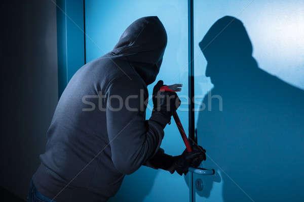 Tolvaj törik ajtó épület éjszaka szerszám Stock fotó © AndreyPopov