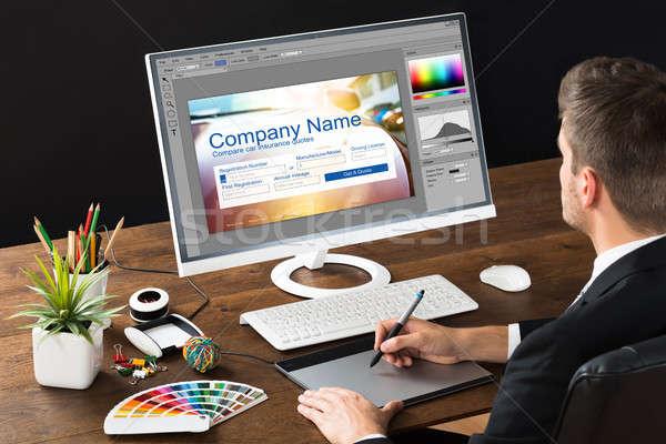 Designer készít weboldal terv számítógép grafikus Stock fotó © AndreyPopov