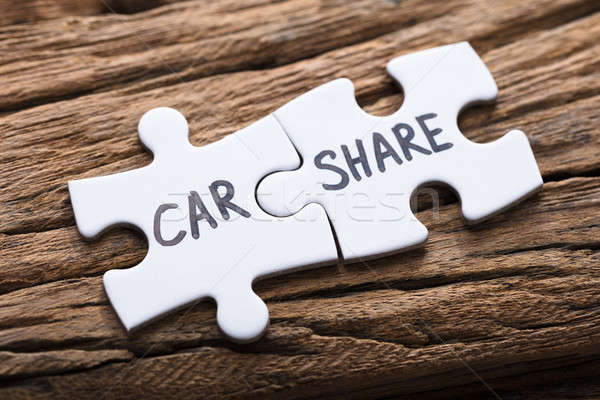 Connected Car Share Jigsaw Pieces On Wood Stock photo © AndreyPopov