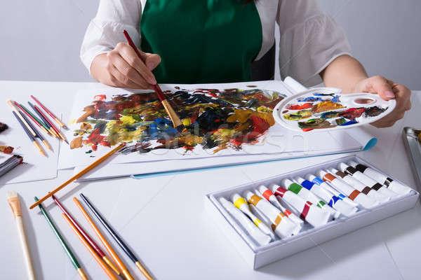 アーティスト 塗料 パレット 絵画 キャンバス ストックフォト © AndreyPopov