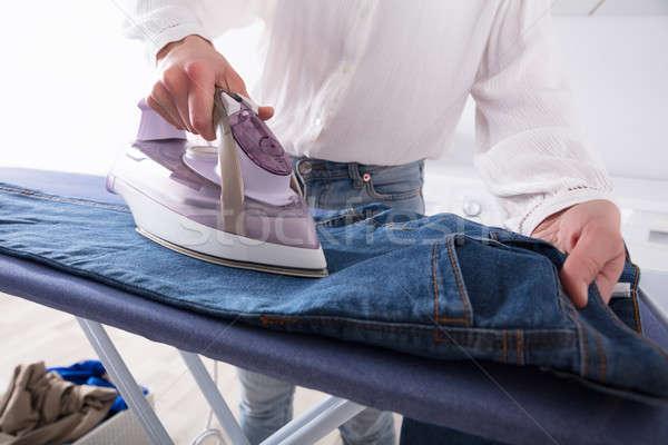 Foto stock: Mulher · jeans · elétrico · ferro
