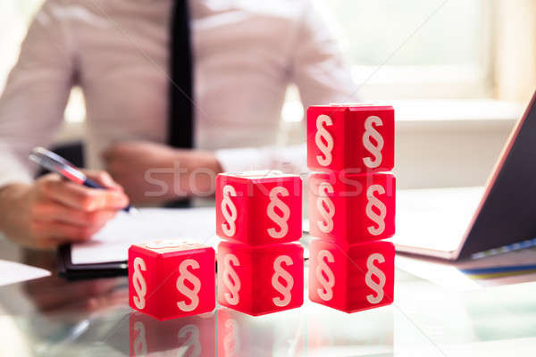Increasing Graph Made Of Red Cubic Blocks Stock photo © AndreyPopov