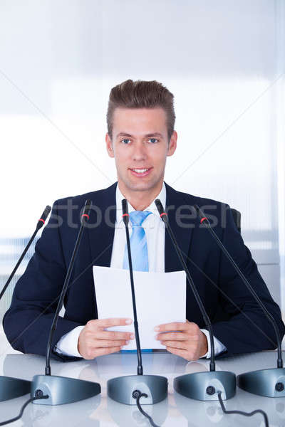 Young Businessman In Conference Stock photo © AndreyPopov