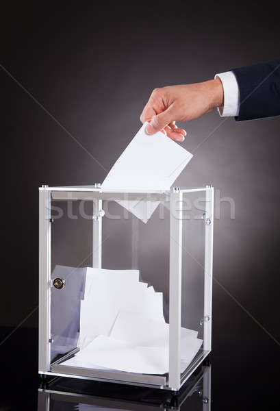 Işadamı oylama kutu büro görüntü siyah Stok fotoğraf © AndreyPopov