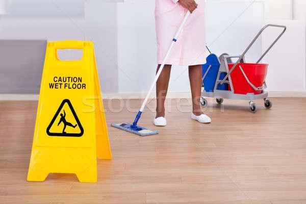 Feminino governanta limpeza piso hotel africano americano Foto stock © AndreyPopov