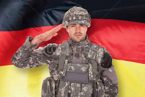 German Soldier Saluting Stock photo © AndreyPopov