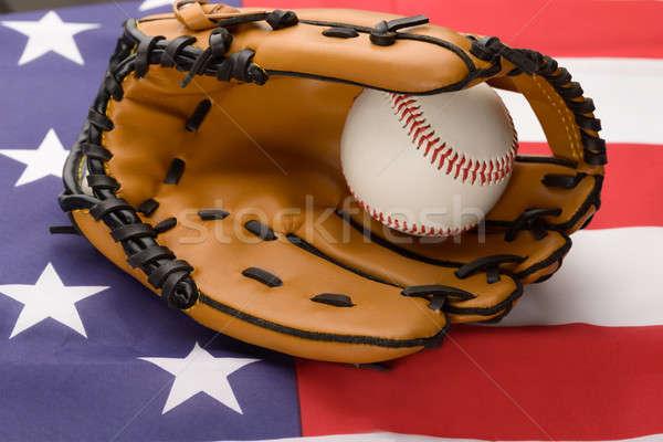 Baseball Glove And Ball On Usa Flag Stock photo © AndreyPopov