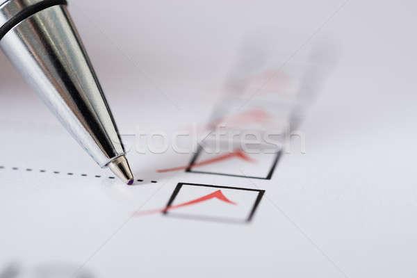 Kalem gümüş iş el imzalamak Stok fotoğraf © AndreyPopov