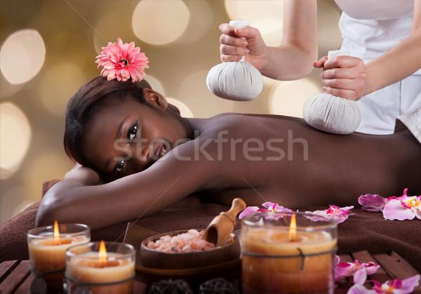 Foto stock: Retrato · mulher · massagem · estância · termal