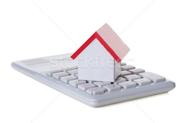 Foto stock: Primer · plano · casa · modelo · calculadora · blanco · negocios