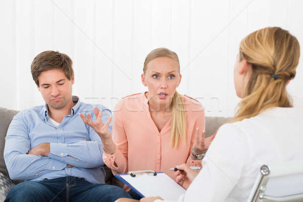 Angry Woman Consulting Psychologist Stock photo © AndreyPopov