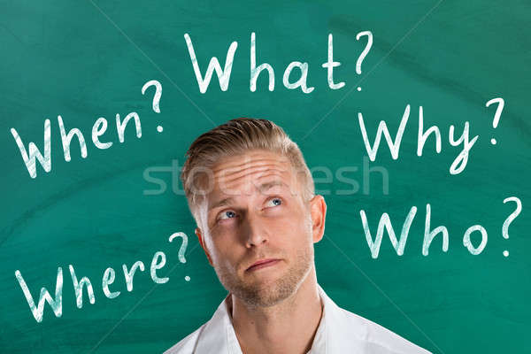 Man Thinking About Five Ws Questions Stock photo © AndreyPopov