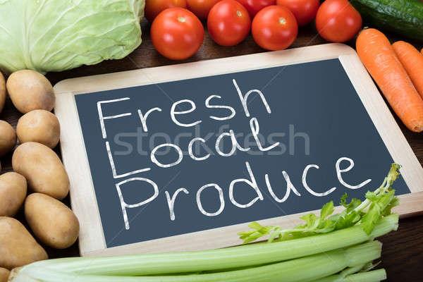 Fresh Local Produce Written On Slate Stock photo © AndreyPopov