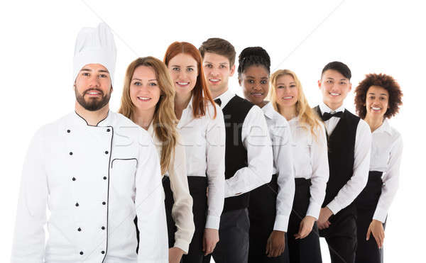 Foto stock: Retrato · restaurante · personal · feliz · pie