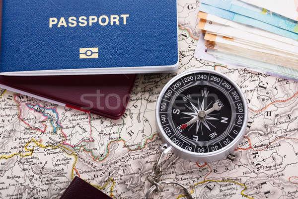 паспорта компас карта мнение деньги знак Сток-фото © AndreyPopov