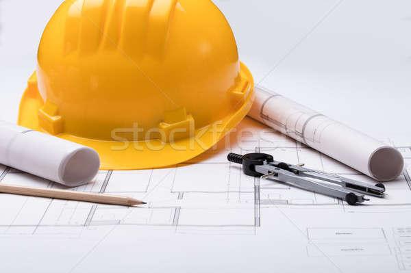 Herramientas casco de seguridad plan vista papel Foto stock © AndreyPopov