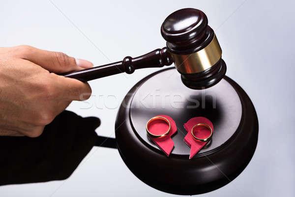 Juge marteau vue mariage amour droit Photo stock © AndreyPopov