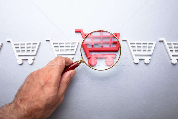 Person Looking At Shopping Cart Through Magnifying Glass Stock photo © AndreyPopov