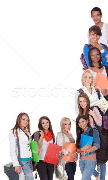 Nagyobb csoport női diákok izolált fehér nők Stock fotó © AndreyPopov