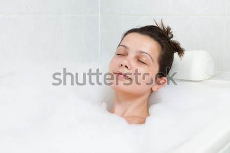 Happy woman in bathtub Stock photo © AndreyPopov