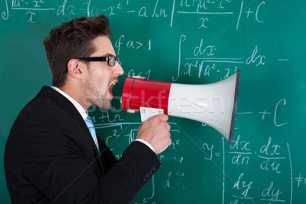 профессор кричали мегафон доске вид сбоку молодые Сток-фото © AndreyPopov