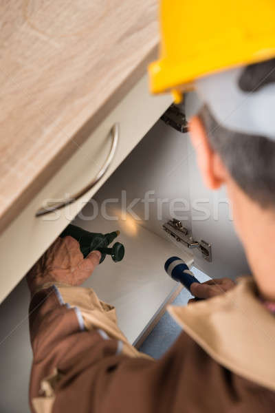 Pest Control Worker Spraying Chemicals Stock photo © AndreyPopov