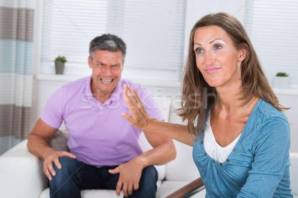 человека жена сердиться зрелый человек гостиной Сток-фото © AndreyPopov