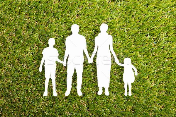 Family Papercut On Grass Stock photo © AndreyPopov