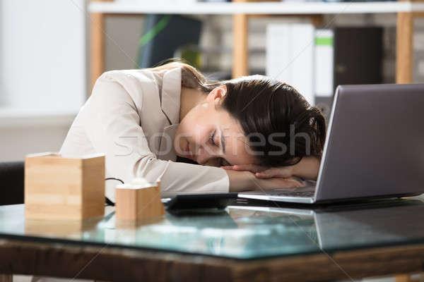 деловая женщина спальный ноутбука женщину Сток-фото © AndreyPopov