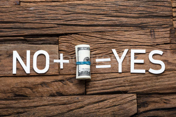 No Plus Money Equals Yes Sign On Wooden Table Stock photo © AndreyPopov