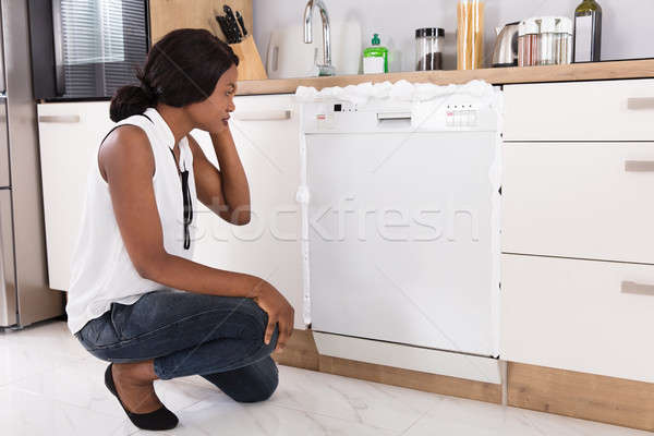 Woman Looking At Foam Coming Out From Dishwasher Stock photo © AndreyPopov