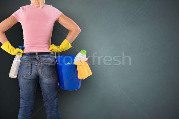 Janitor With Spray Bottle And Cleaning Equipments Stock photo © AndreyPopov