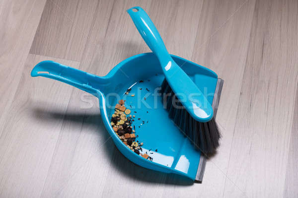 Dirt On Plastic Sweeping Dust Pan And Brush Stock photo © AndreyPopov
