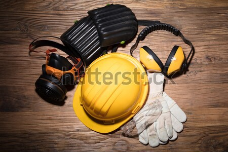 Gavel With Road Barrier, Hard Hat And Traffic Cone Stock photo © AndreyPopov