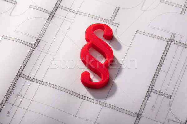 Red Paragraph Symbol On Blueprint Stock photo © AndreyPopov