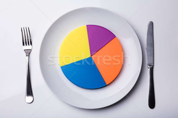 Colorful Pie Chart On White Plate Stock photo © AndreyPopov