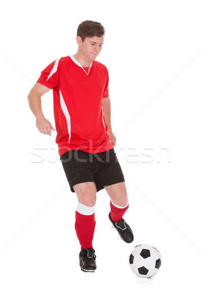 Voetballer bal portret jonge witte Stockfoto © AndreyPopov