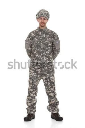 Portret młodych żołnierz człowiek odizolowany biały Zdjęcia stock © AndreyPopov