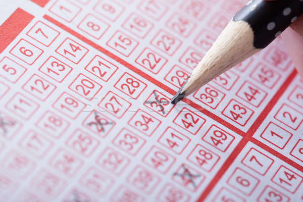 Person Marking Number On Lottery Ticket Stock photo © AndreyPopov